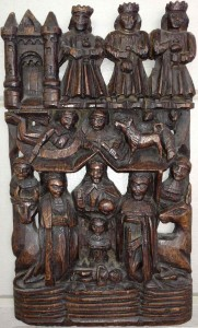 The Holy Nativity - 17 C English wood carving.