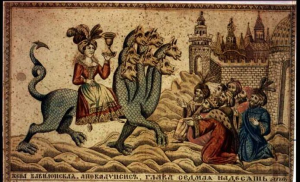 """Whore of Babylon & the Seven-headed Beast, "" 19th century Russian engraving"