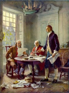 "An artist's stylized retrospective of Franklin, Adams and Jefferson ""Writing the Declaration of Independence 1776"" – oil on canvas, Jean Leon Gerome Ferris (1863-1930)"
